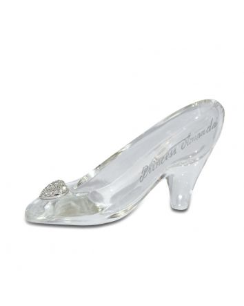 Small Cinderella Glass Slipper Features a Pavé Crystal Heart, Personalizable Fairytale Gift