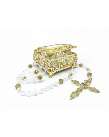 Lasso Box & Crystal Beads / Rhinestone Balls Lasso Gold Plated