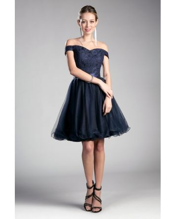 Off the Shoulder a-line Short Dress with Lace Bodice & Layered Tulle Skirt, No Matter Your Occasion in this Elegant Dress you'll Feel Flawless & Confident
