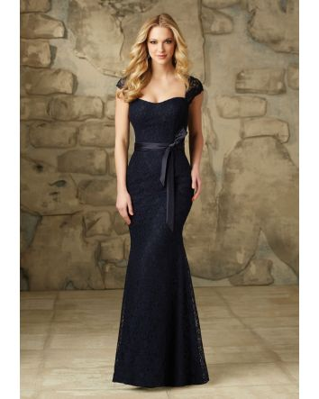Lace Bridesmaid Dress With Satin Tie Sash and Cap Sleeves - STYLE #108 Color: Bordeaux