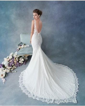 Style 1807 by Kenneth Winston Mermaid Wedding Dress Crepe/Stretch Lining & Lace/English Net