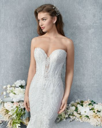 Style 1833 by Kenneth Winston Wedding Dress Embroidered Lace/ Soft Tulle/Stretch Lining