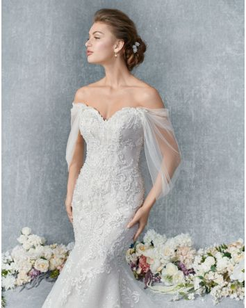 Mega Glamorous Trumpet style gown for a modern look with sparkle tulle under lace and a corset illusion back. 