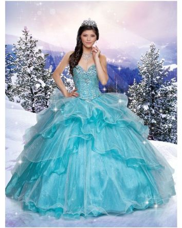 Inspired by snow and ice, this gown celebrates Elsa's magical powers with its dramatic palette of icy blues and deep purples that deliver a cool elegance reminiscent of the beauty that sets in eternal winter.  Magical Details:  Dress Style: 41097  S