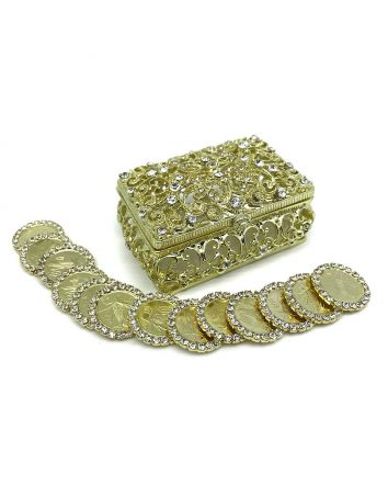 13 Arras Rhinestone Coins & Jewelry Arras Box Gold