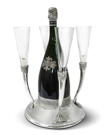 Celebrate Your Special Occasion with The Queen of the Castle Champagne and Flute Holder, Elegant Brass Base Holds One Champagne Bottle & 4 Glass Flutes