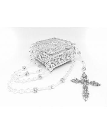 Lasso Box & Crystal Beads / Rhinestone Balls Lasso Silver Plated