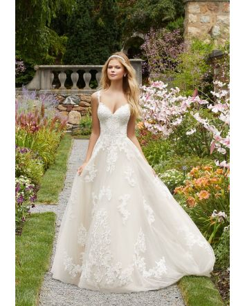 A-Line, Ball Gown Wedding Dress Style 2020 Features Frosted, Alençon Lace and Medallion Style Appliqués on a Soft Tulle Ballgown with Appliquéd Straps