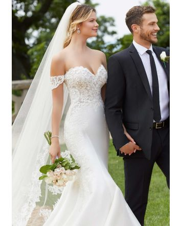 Morilee's Selena Fit-and-Flare Designer Wedding Dress Sweetheart Bodice with Detachable Sleeves, Satin Skirt, Cut-away Train.
