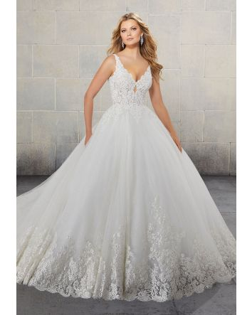 Ball Gown Wedding Dress Style 2146 by DesignerMadeline Gardner Features Lace Trimmed, Cathedral Length Train & Beaded Alençon Lace on a sculptured, V-neck bodice