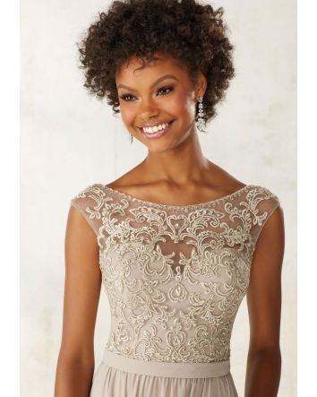 Ivory Chiffon Bridesmaids Dress with Embroidery and Beading on Bodice - STYLE #21522