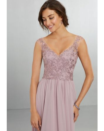 French Lilac - Chiffon Bridesmaids Dress with Intricately Embroidered and Beaded Bodice - STYLE #21558