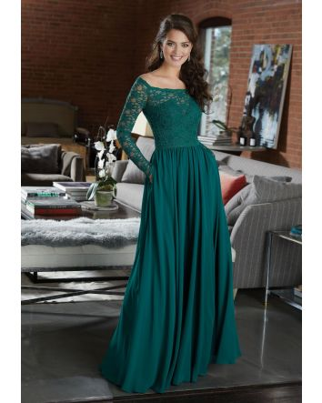 Long Sleeve Lace and Chiffon Bridesmaid Dress - STYLE 21582