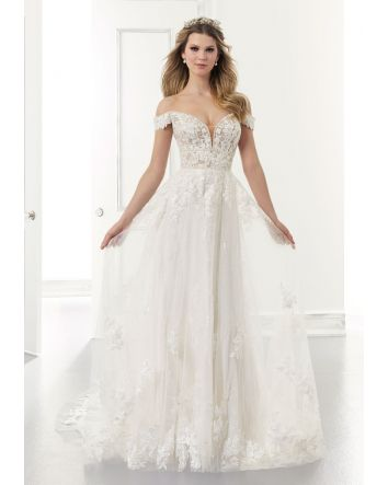 Addison Wedding Dress Style 2175 by Morilee in Lace & Tulle has Cap Sleeves & an Off the Shoulder, Sweetheart Neckline