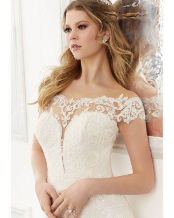 Ariel Style 2177 by Morilee Fit to Flare Wedding Dress in Lace & Tulle has Cap Sleeves & an Off the Shoulder, Sweetheart Neckline
