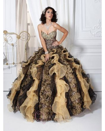Strapless sweetheart neckline, crystal embellished. Full skirt with vertical ruffles. Printed Taffeta & Organza  Magical Details:  Dress Style: 26715  Size: 8  Color: Cheetah Print Black / Gold   Neckline: Strapless sweetheart  Fabric: Printed