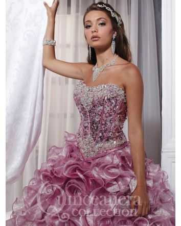 Beading & Embroidery Ball Gown Modern Sequins & Metallic Organza cascading ruffle skirt
