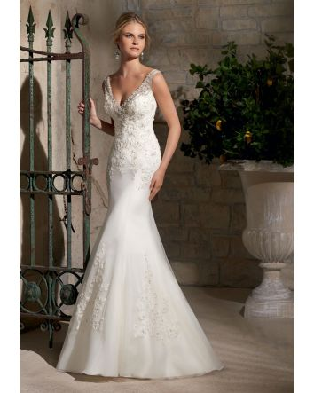 Crystal Beaded Embroidery Accents with Alencon Lace Appliques on Net Morilee Bridal Wedding Dress