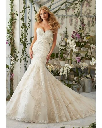 Morilee Bridal Embroidered Appliqués and Edging with Crystal Beading on Tulle Wedding Dress