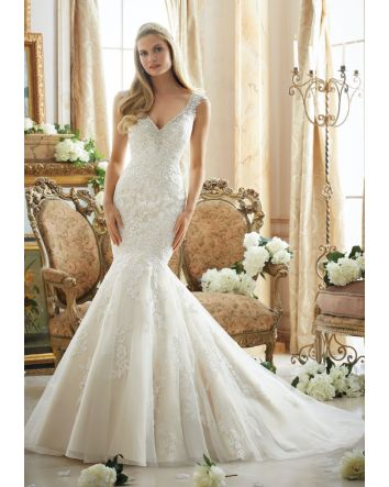 Contoured Straps with Diamante Beading on Net with Alencon Lace Appliques Morilee Bridal Wedding Dress