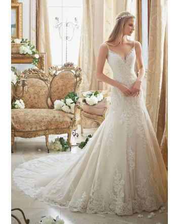 Diamanté Beading Trims the Tulle Gown with Embroidered Lace Appliqués and Scalloped Hemline Morilee Bridal Wedding Dress
