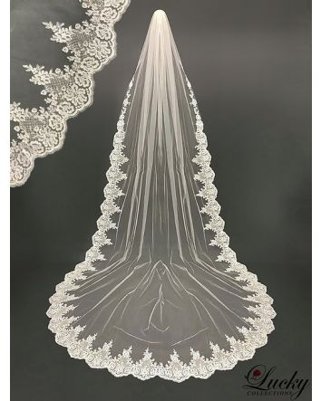 Cathedral length Wedding Veil Edged with Lace