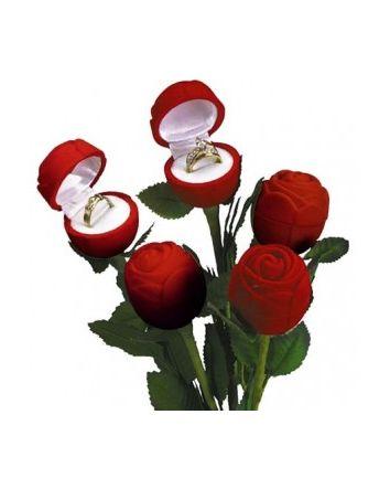 Red Velvet Rose Ring Box Long Stem