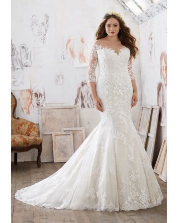 Whimsical Mia Plus Size Wedding Dress  . All our most stylish fairytale heroines would fall for this sequin A-line wedding dress in sparkly texture and daring illusion.  Wedding Dress Details:  Dress Style: 3212  Size:22 (Sample Dress in Stock)
