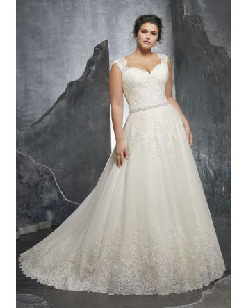 Sweetheart neckline with over the shoulder cap sleeves and see-through lace back. Crystal belt and A-Line style gown and large train.