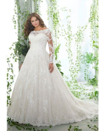 Off the shoulder with lace covered long sleeves. Lace covered back and A-Line style skirt and large train.