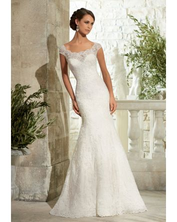 Elegant Alencon Lace with Wide Hemline Morilee Bridal Wedding Dress