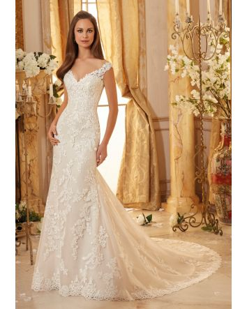 Classic Embroidered Lace on Soft Tulle with Scalloped Hemline Morilee Bridal Wedding Dress