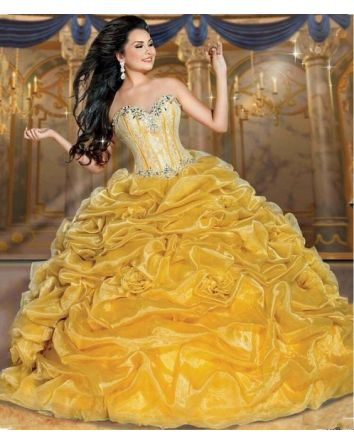 The Belle of the Ball Disney Royal Ball Dress Collection A Tribute to Bell's Elegance, Intelligence and Beauty.  The Disney Royal Ball Belle Dress featurse a strapless neckline, Versailles-inspired beadwork and sophisticated silhouette lace bodice.  Fr