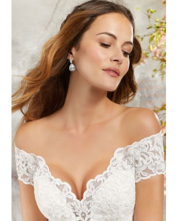 Morilee' Linda Classic A-Line Wedding Dress Off-the-Shoulder & Scalloped Hemline Sample SALE