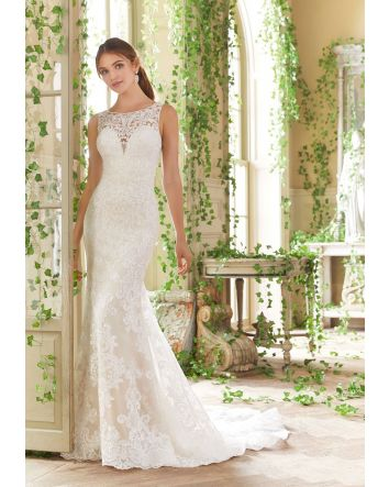 Morilee's Penny Fit and Flare Tulle Wedding Dress with Long, Sheer Train with Scalloped Hemline