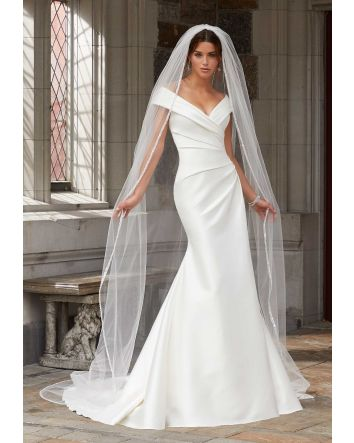 Morilee's Stacey Fit to Flare Draped, Stretch Larissa Satin Wedding Dress