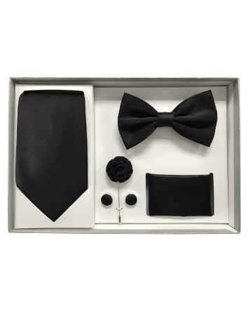 5pcs Gift Set For the Modern Gentleman (Slim Tie, Bow-Tie, Pocket Square, Lapel Flower & Cufflinks) Jet Black