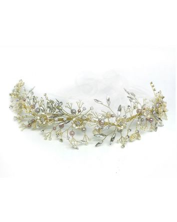 Royalty Headband with Blissful Medley of soft Neutral Tones Pearl & Opal