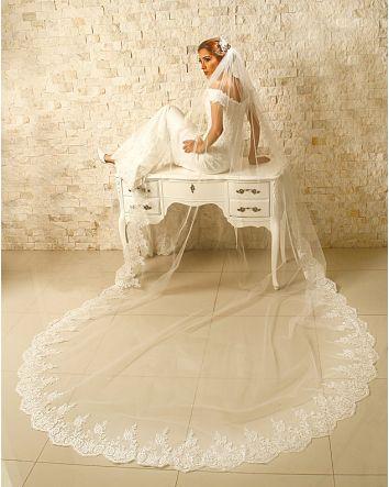 Princess Bride Wedding Lace Cathedral Veil 3.5 Yard Lace Edge Ivory 130x90