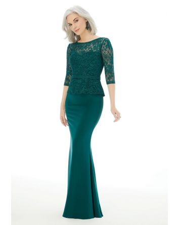Fit and Flare Evening Gown with Embroidery on Net and Crepe