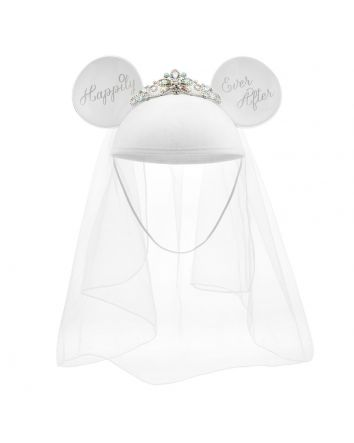 Here Comes the Bride! Happily Ever After Minnie Mouse Bride Ear Hat with Tiara Plus Heart & Rhinestone Garter Bridal Gift Set