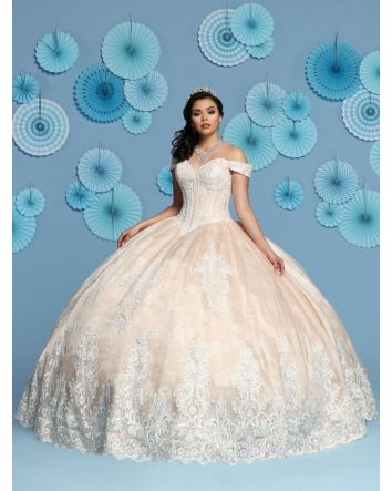 Modest Lace & Shimmer Organza Ball Gown has a Sweetheart Neckline,Off the Shoulder Straps and a Corset. The Bodice is Embroidered Lace Bodice with matching Lace Applique on the Skirt and Train.  Magical Details:  Dress Style: 80446  Size: 14   Colo
