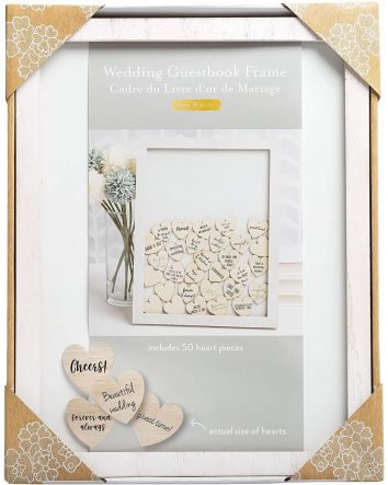 Kate & Milo Wedding Guest Book Frame and Customizable Hearts, Engagement or Bridal Shower Gift, Bride and Groom Keepsake Includes one wedding guest book frame, 50 customizable wooden hearts, attached sawtooth hanger and easel Unique wedding guest book i