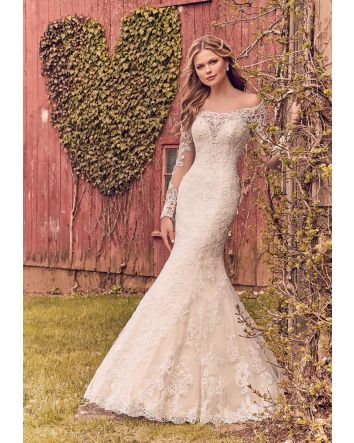 Elegant Fit and Flare Wedding Dress Style 8207 Featuring an Off the Shoulder Illusion Neckline and Crystallized Venice Lace Appliqués on Net. Long Illusion Sleeves and a Zipped Back Closure Trimmed in Covered Buttons Completes the look