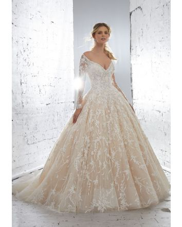Morilee's Kristalina Princess Ballgown Off-the-Shoulder Beaded Illusion Sleeves Wedding Dress Skirt & Large Train