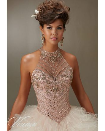 Halter Jeweled Beading Top on a Ruffled Tulle Ballgown
