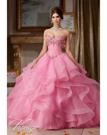 Ice Pink Jeweled Beading on Flounced Organza Ballgown