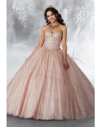 Princesa Glitter Cape Rose Gold Ballgown Collection by Morilee