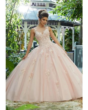 3D Metallic Floral Embroidery Sparkling Tulle Ballgown