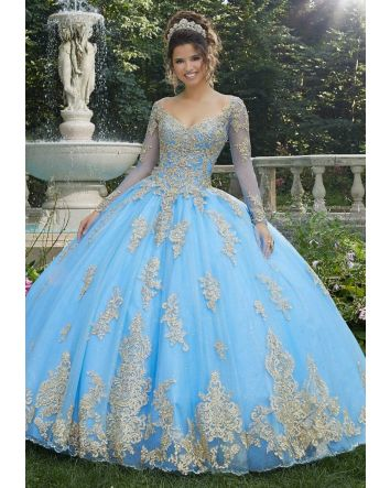Princess French Blue Ballgown - Metallic Lace and Glitter Tulle